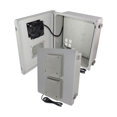 "Altelix 14x12x6"" Fiberglass Enclosure with Cooling Fan & 120V Power 