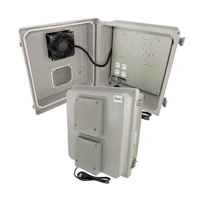 "Altelix 14x12x8"" Fiberglass Enclosure with Cooling Fan & 120V Power 