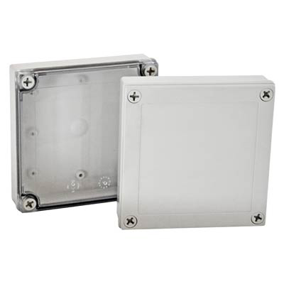 Bud Industries PIP-11775-C Polycarbonate Electronic Enclosure w/Clear Cover